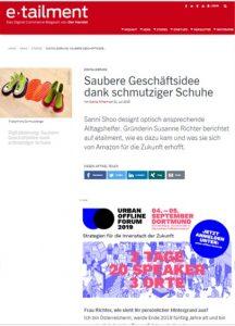 SanniShoo auf etailment.de im Juli 2019